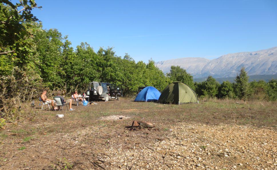 Obozowisko w greckiej dolince